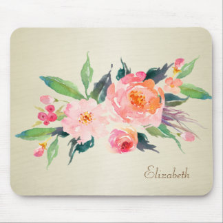 Chic  Girly Watercolor Flowers-Personalized Mouse Pad