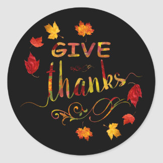 Chic Give Thanks Fall Rustic Thanksgiving Monogram Classic Round Sticker