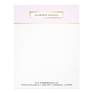 Chic Glam Pink and Faux Gold Business Personalized Letterhead