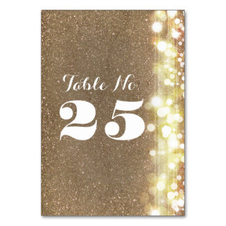 chic glitter twinkle lights table number cards