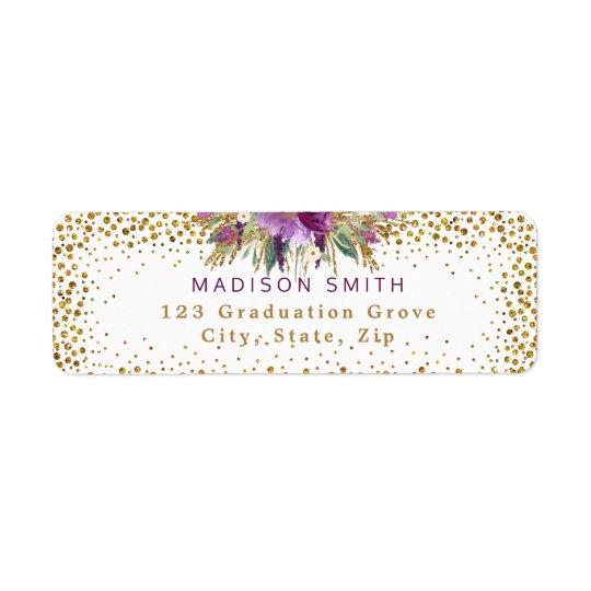 Chic Glitter Watercolor Flowers Gold Confetti Return Address Label