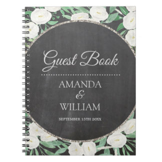 Chic Glitter Watercolor Flowers Wedding Guest Book