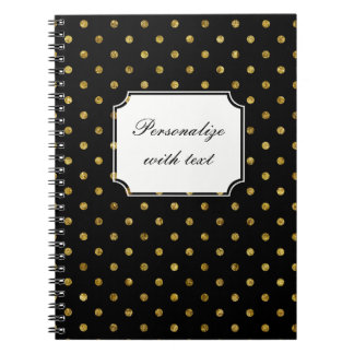 Chic Gold and Black Dots Spiral Note Book