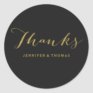 Chic Gold and Black Thank You Stickers