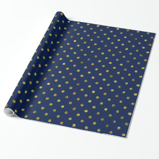 Chic Gold and Blue Glam Polka Dots Wrapping Paper