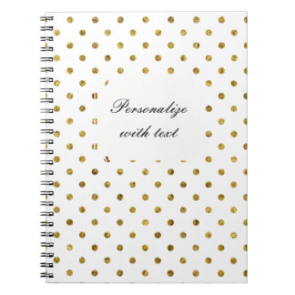 Chic Gold and White Dots Note Books