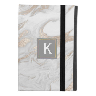 Chic Gold and White Faux Marble iPad Mini 4 Case