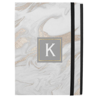 Chic Gold and White Faux Marble iPad Pro Case