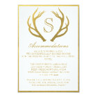 CHIC GOLD | ANTLER WEDDING ACCOMMODATION CARD