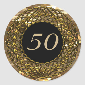Chic Gold & Black 50th Wedding Anniversary Classic Round Sticker