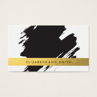 Chic Gold Black Brushstrokes Business Card