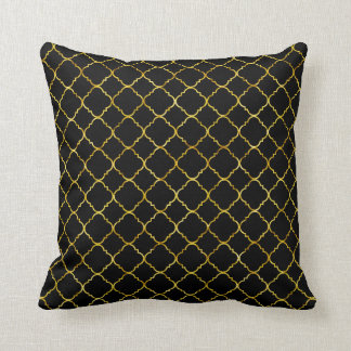 Chic Gold Black Quatrefoil Throw Pillow