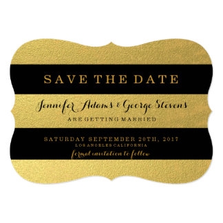 CHIC GOLD | BLACK STRIPES SAVE THE DATE CARD