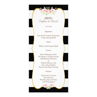 Chic Gold Black White Stripes Flowers Wedding Menu