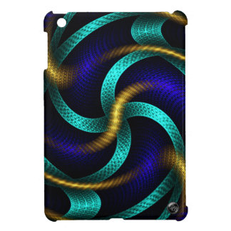 Chic Gold, Blue, and Teal Abstract Fractal Art Case For The iPad Mini