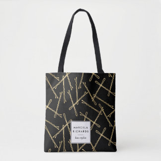 Chic Gold Bobby Pins Black Personalized Tote Bag