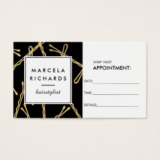 Chic Gold Bobby Pins Hair Salon Black Appointment Business Card