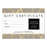 "Chic Gold Bobby Pins Hair Salon Gift Certificate 4.5"" X 6.25"" Invitation Card"