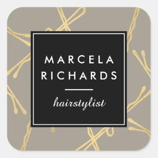 Chic Gold Bobby Pins Hair Stylist Salon Gray Square Sticker