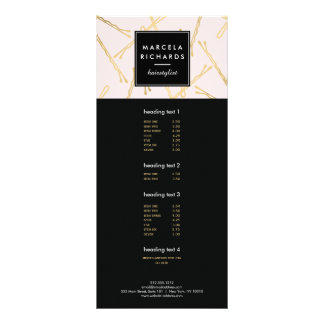 Chic Gold Bobby Pins Hair Stylist Salon Pink Personalized Rack Card