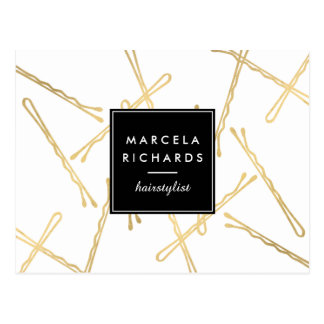 Chic Gold Bobby Pins Hair Stylist Salon Postcard