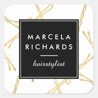 Chic Gold Bobby Pins Hair Stylist Salon Square Sticker