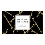 Chic Gold Bobby Pins Hairstylist, Hair Salon II Business Card