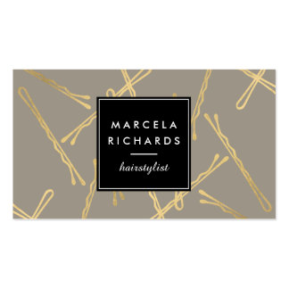 Chic Gold Bobby Pins Hairstylist, Hair Salon III Business Card