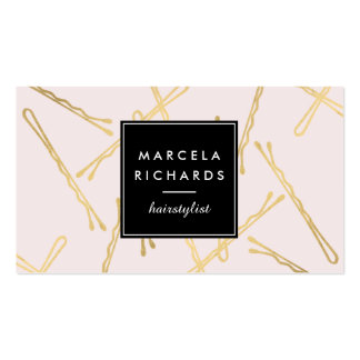 Chic Gold Bobby Pins Hairstylist, Hair Salon Pink Business Card