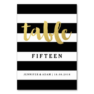 Chic Gold | Bold Black Stripe Table Numbers