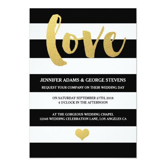 Chic Gold | Bold Black Stripe Wedding Invitation