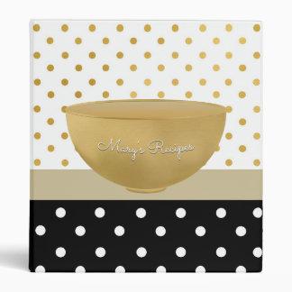 Chic Gold Bowl Mixing Bowl Recipes With Polka Dots 3 Ring Binder
