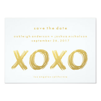 Chic Gold Brush Stroke | XOXO Photo Save the Date Card