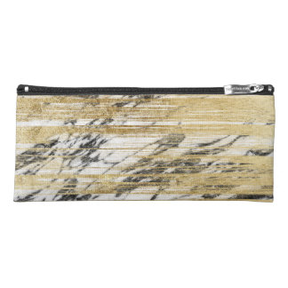 Chic Gold Brushstrokes on Black White Marble Pencil Case