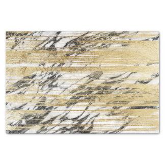 Chic Gold Brushstrokes on Black White Marble Tissue Paper
