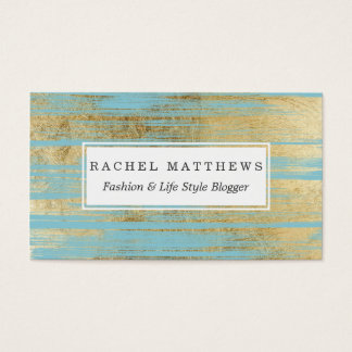 Chic Gold Brushstrokes on Island Paradise Blue Business Card