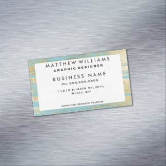 Chic Gold Brushstrokes on Island Paradise Blue Magnetic Business Card