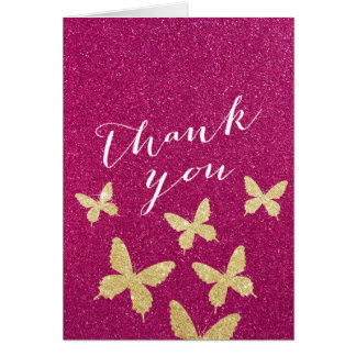 Chic Gold Butterflies Pink Glitter Thank You Cards