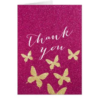 Chic Gold Butterflies Pink Glitter Thank You Cards