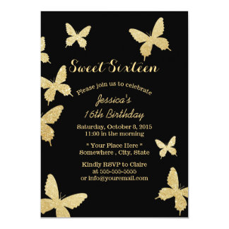 Chic Gold Butterflies Sweet 16 Invitations