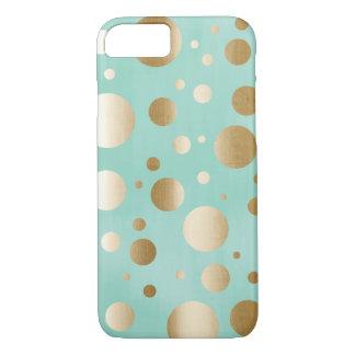 Chic Gold Confetti Dots Mint Blue iPhone 7 Case