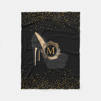 Chic Gold Confetti Monogram | High Heels Black Fleece Blanket
