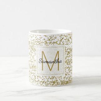 Chic Gold Confetti Monogram Personalized Coffee Mug