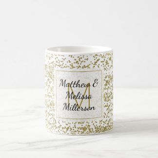 Chic Gold Confetti Monogram Personalized Coffee Mug