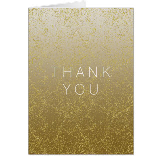 Chic Gold Confetti Sparkles Thank you Card