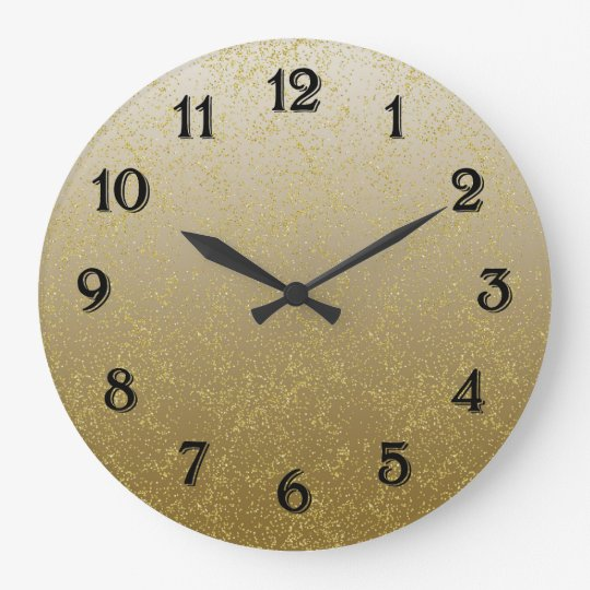Chic Gold Confetti Sparkles Wall Clocks