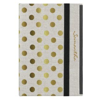 Chic Gold Dots Linen Look iPad Mini Case