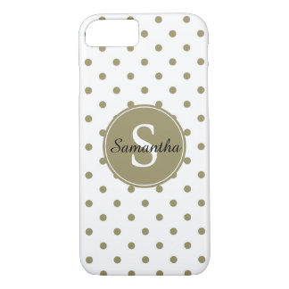 Chic Gold Dots Monogram iPhone 7 Case