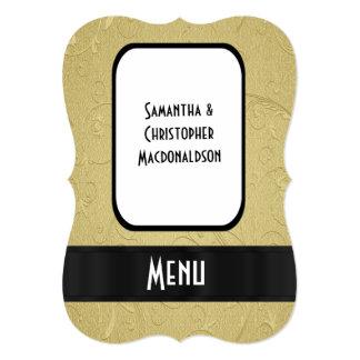"""Chic gold elegant formal wedding menu 5"""" x 7"""" invitation card"""