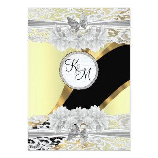 "Chic gold elegant white lace monogram wedding 5"" x 7"" invitation card"
